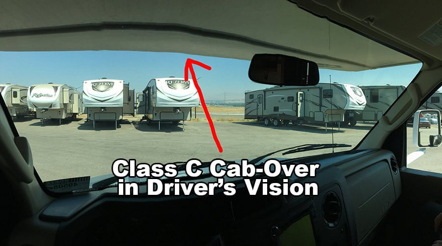 Image depicts problem with Class C overhang obscuring driver's view.