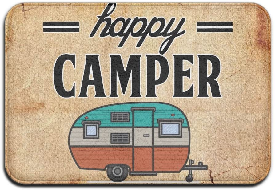 Happy Camper Camping Door Mat Entrance Mat Floor Mat Rug Indoor/Outdoor/Front Door