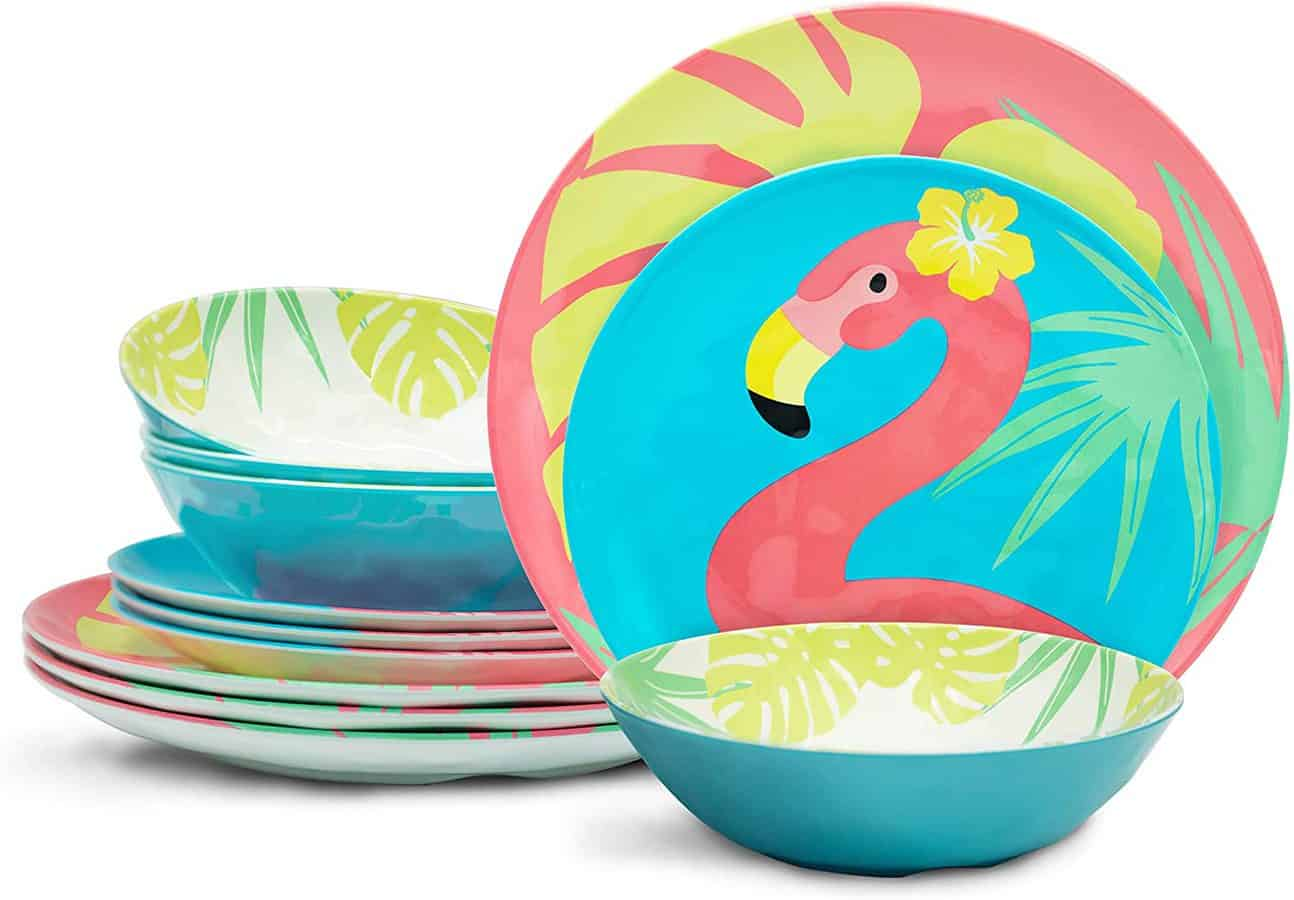 Zak Designs Flamingo Prints Party Supplies Durable Non-BPA Melamine Dinnerware