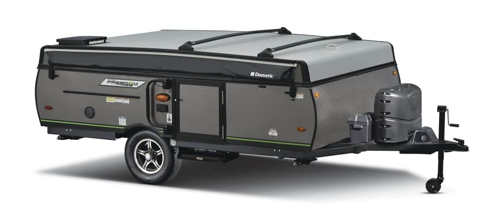 Rockwood Freedom popup camper in fully closed state.
