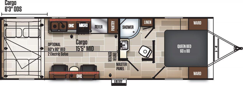 Floorplan of Coachmen Adrenaline travel trailer.