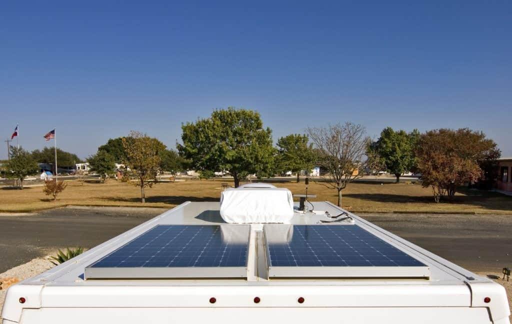 solar panels on roof of RV