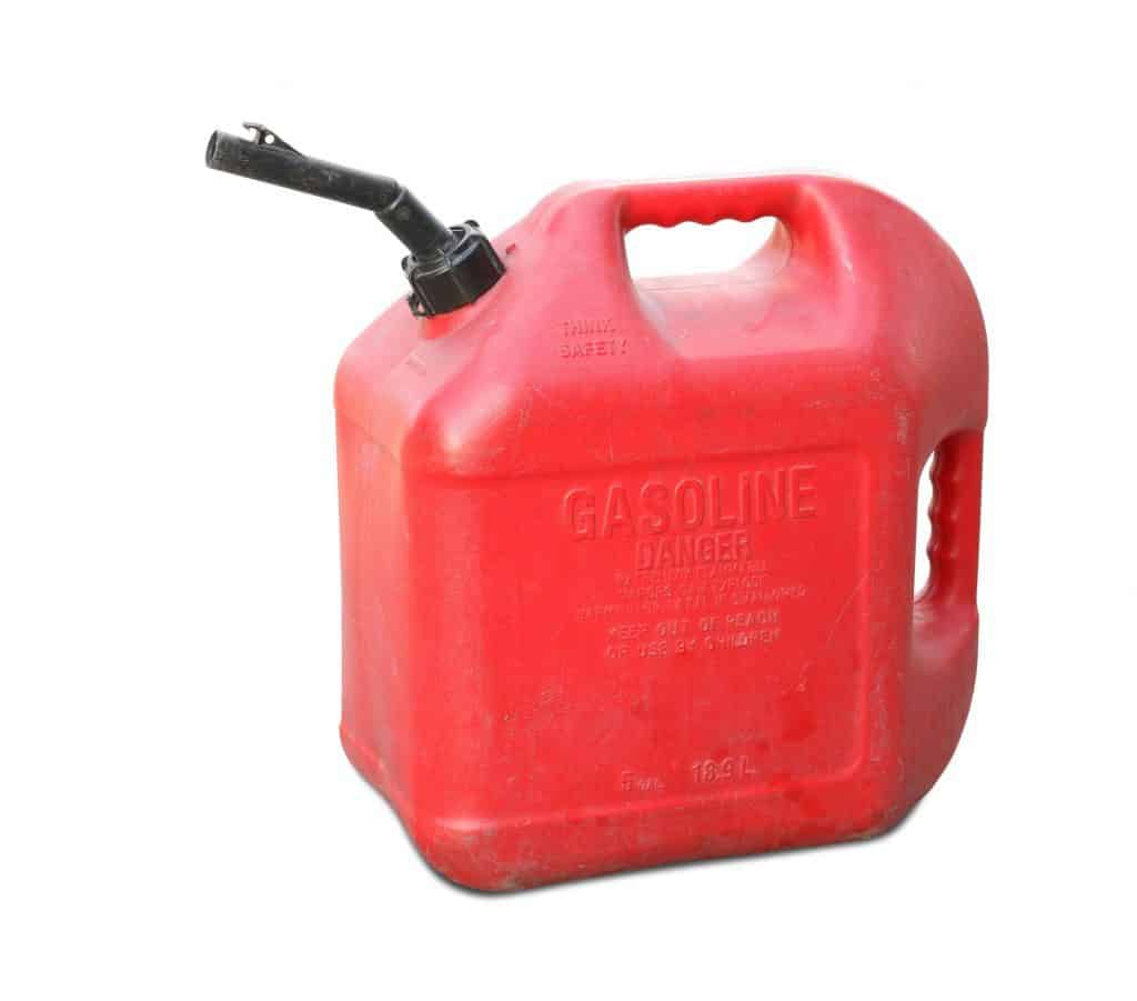 A typical plastic gasoline container.