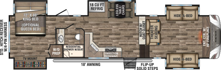 Floorplan of Durango 5th wheel.
