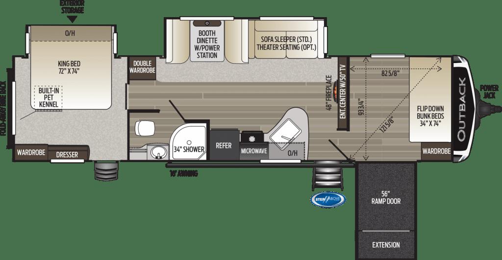 Floorplan of Keystone Outback travel trailer.
