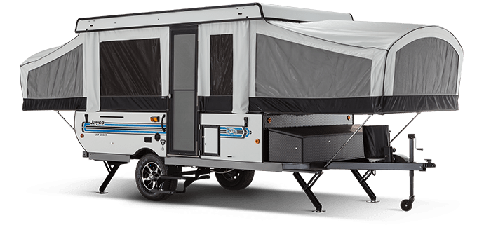 Stock exterior view of  Jay Sport pop-up camper fully opened.