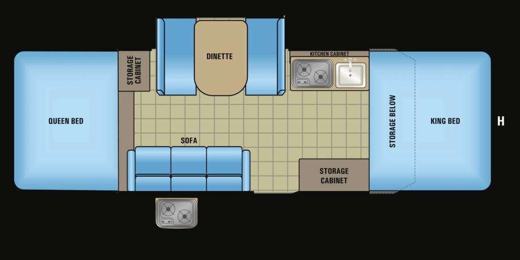 Floorplan of Jayco pop-up camper.