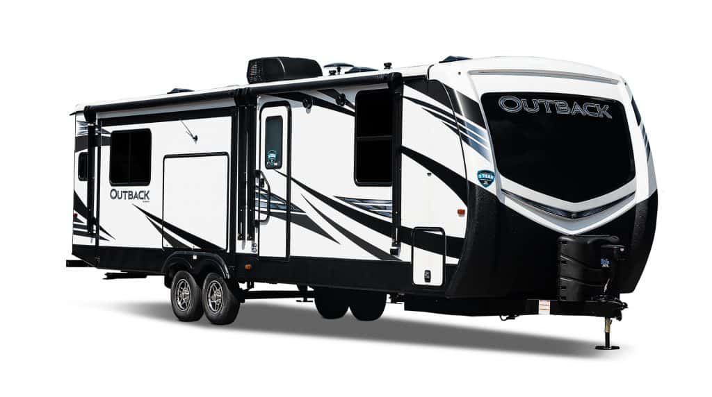 Stock exterior view of Keystone Outback travel trailer.