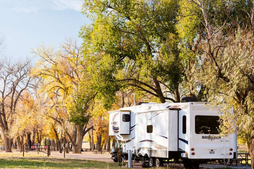 5th wheel parked at campground near Yellowstone.