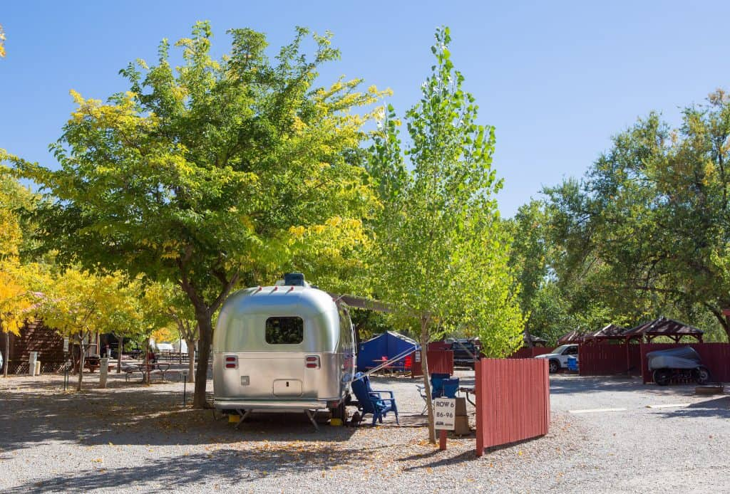 Airstream camper at public campground parked under a tree.