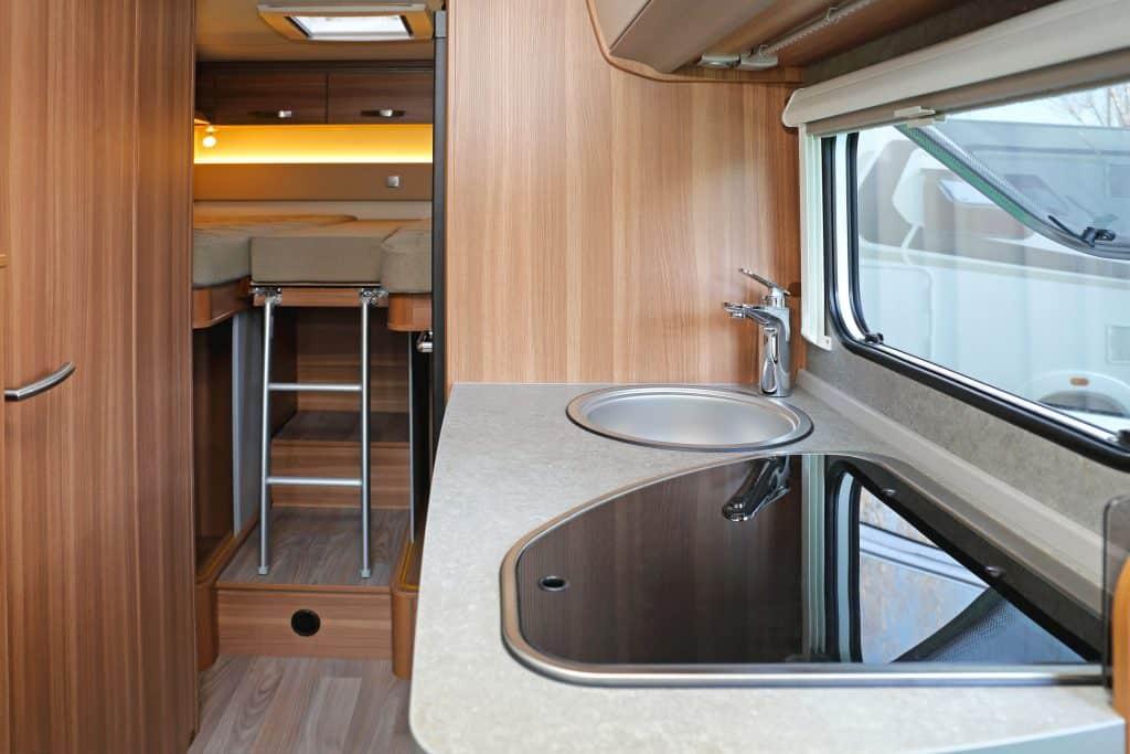 RV kitchen counter in small RV interior.