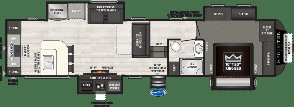 Keystone RV 5th wheel floorplan.