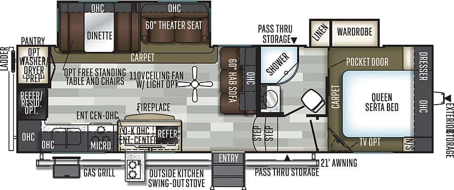 Forest River Flagstaff travel trailer floorplan.