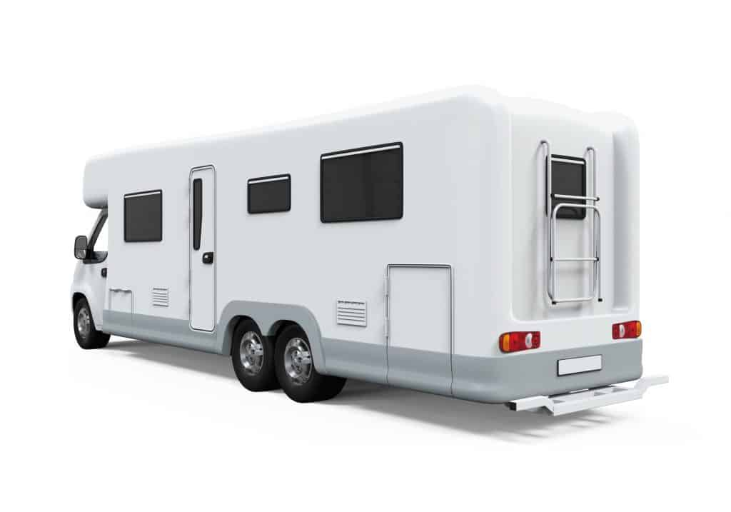 all white class C RV with no markings.