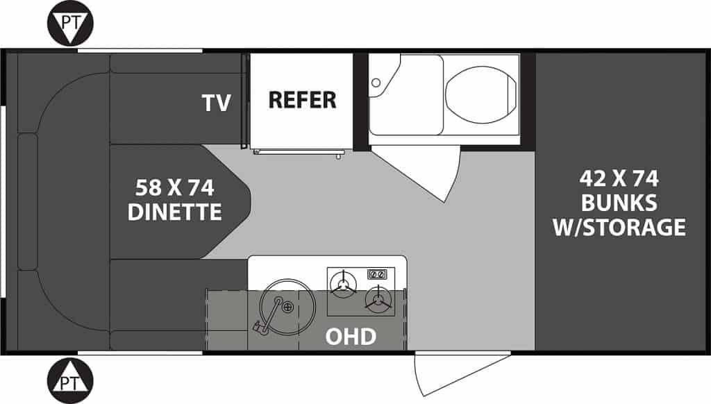 Floorplan of Forest River R-Pod camper.