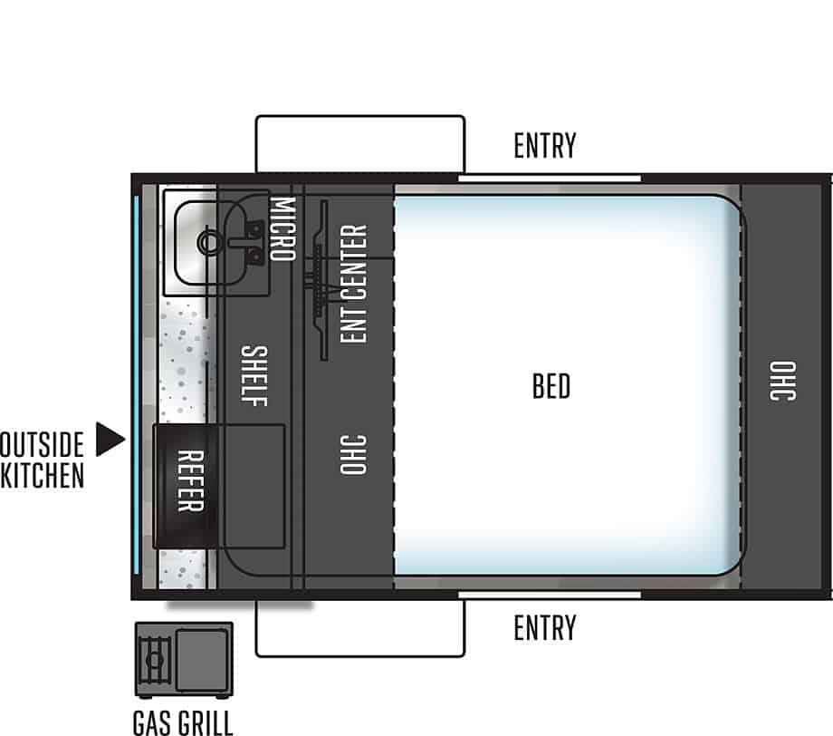 Floorplan of Flagstaff E-Pro camper.