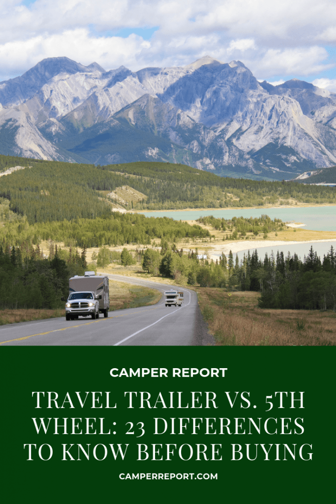 Travel trailer and class C motorhome on the road