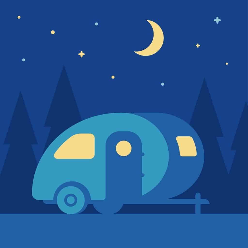 Cartoon graphic of teardrop trailer under a crescent moon.