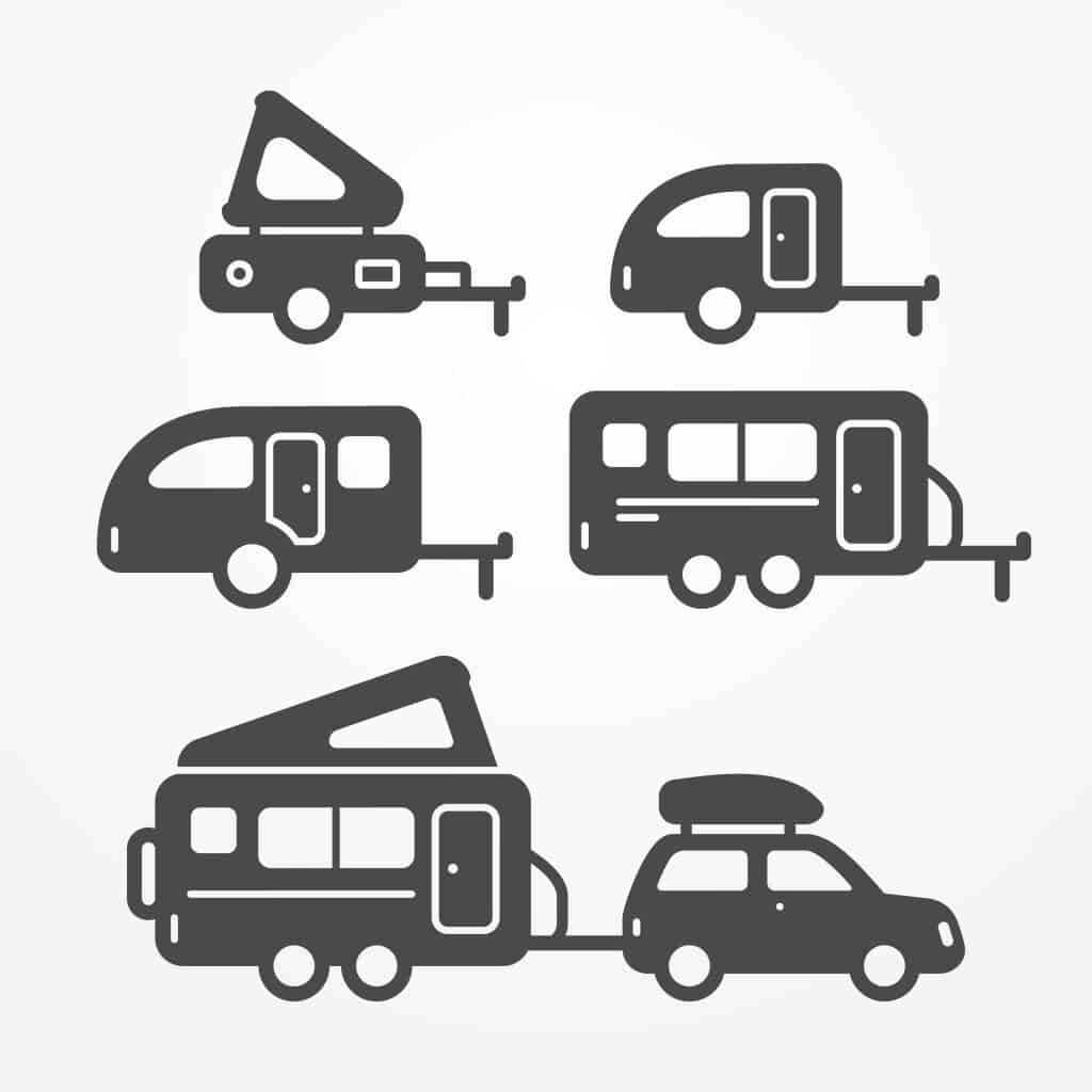 Clip art graphic of various travel trailer icons depicting type variations.