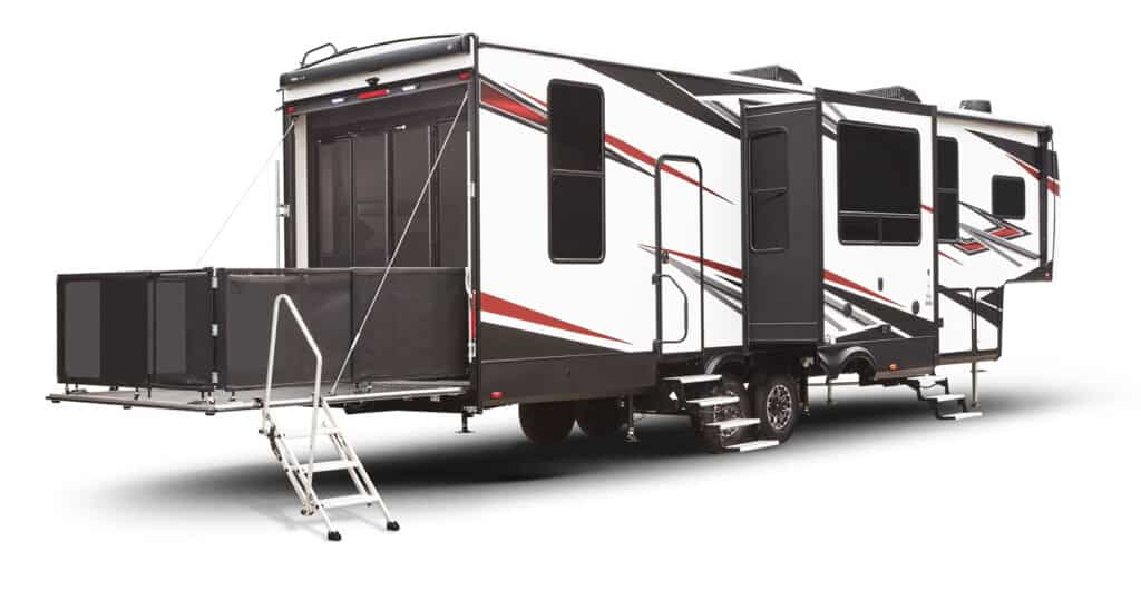 Toy Hauler camper with deck and slides open.