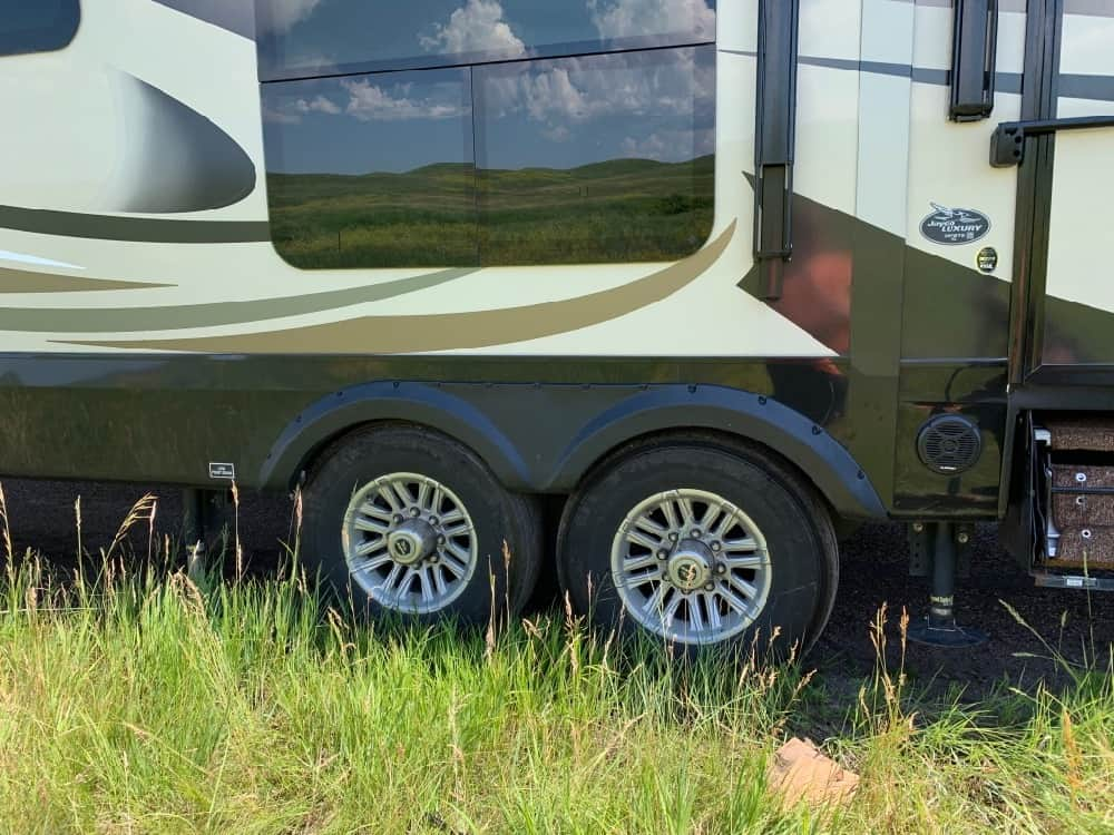 Close up of dual RV tires.
