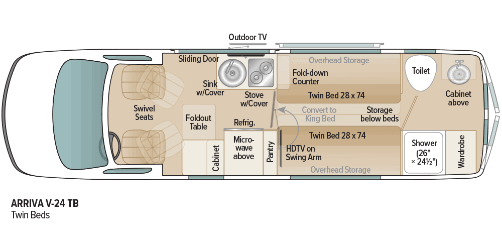 Floorplan of Coach House Arriva Class B motorhome.