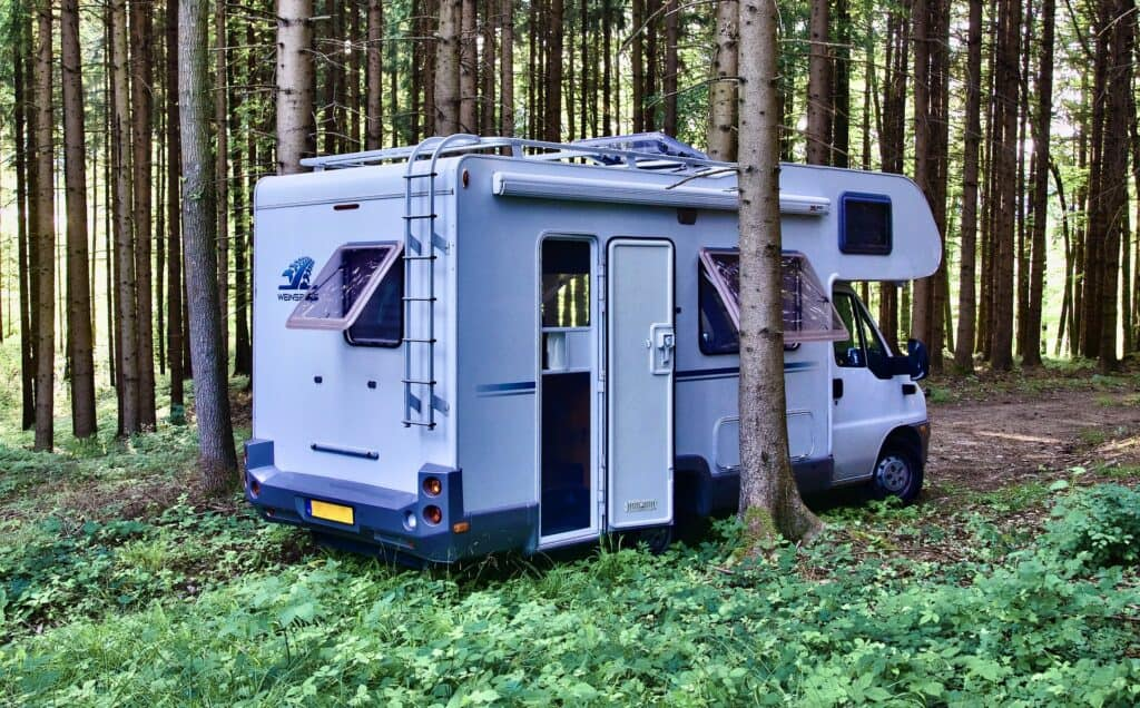 Small RV parked in forest between trees.