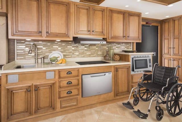 Large motorhome kitchen with ample wheelchair floorspace.