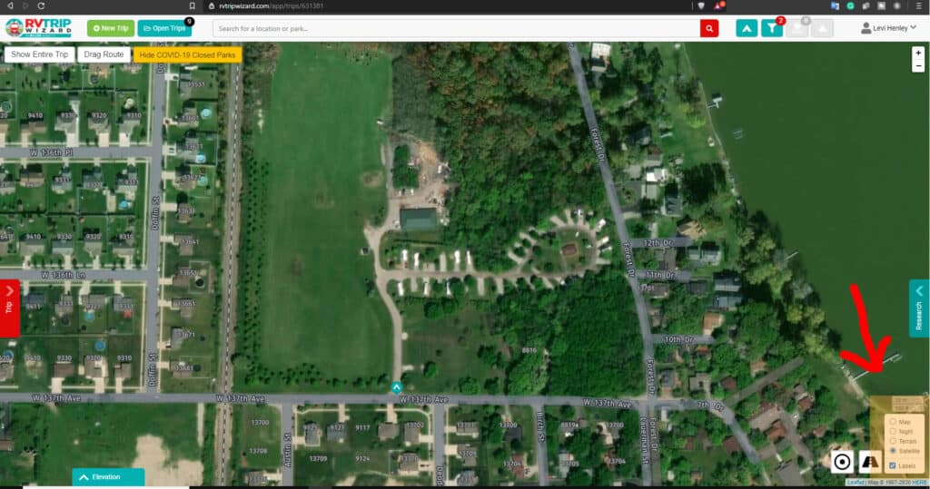 RV Trip Wizard Screenshot highlighting the map tile options