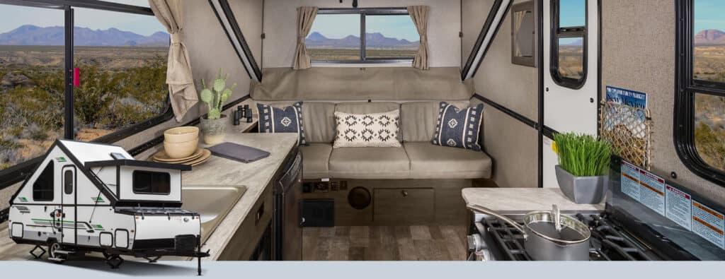 Interior of Rockwood hard side camper.