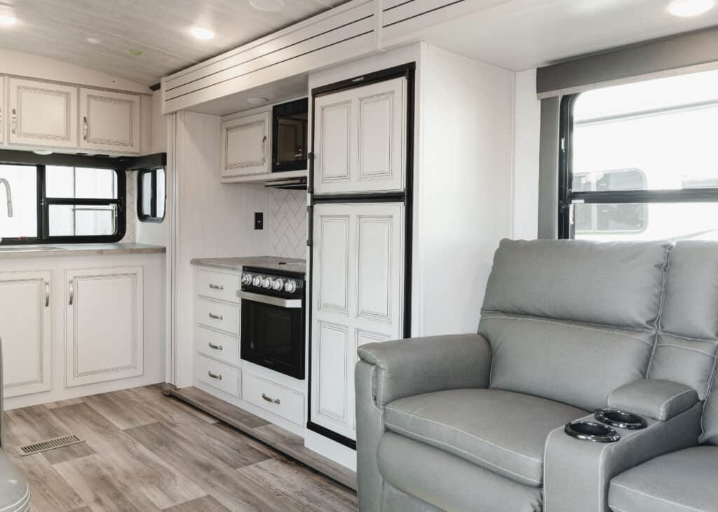Interior view of a 2021 Keystone Cougar 5th Wheel.