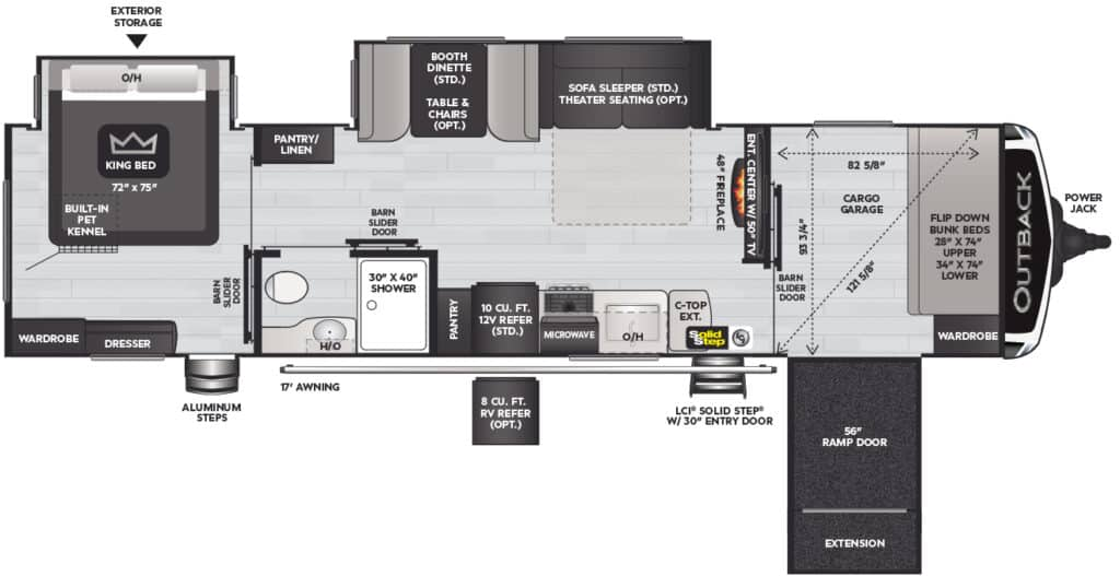 Keystone Outback floorplan shows the wheelchair accessible ramp