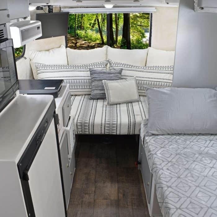 Interior of Casita travel trailer.