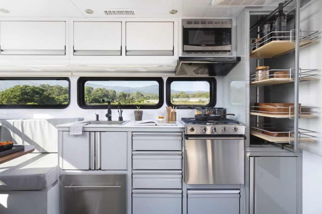 Kitchen of the 2021 living vehicle.