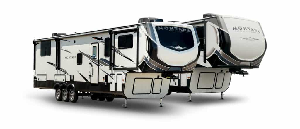 A pair of 2021 Keystone Montana High Country 5th Wheels on display.