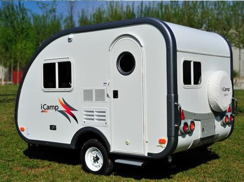 Exterior of iCamp Elite mini travel trailer.