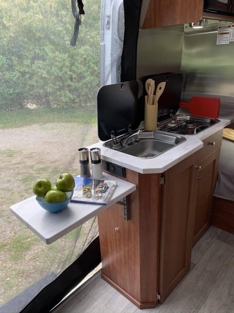 Small but efficient Class B RV kitchen.