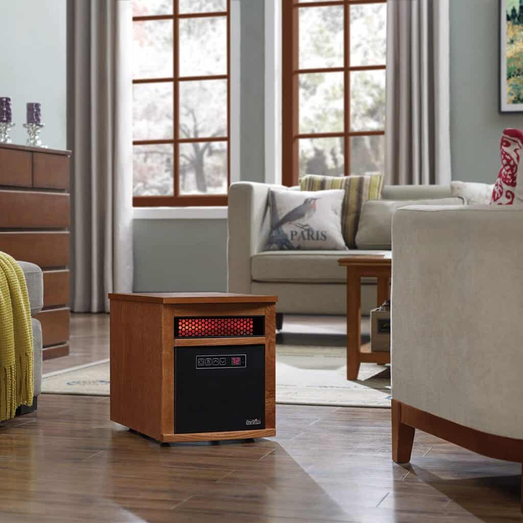 Fancy Freestanding space heater set up in living room.
