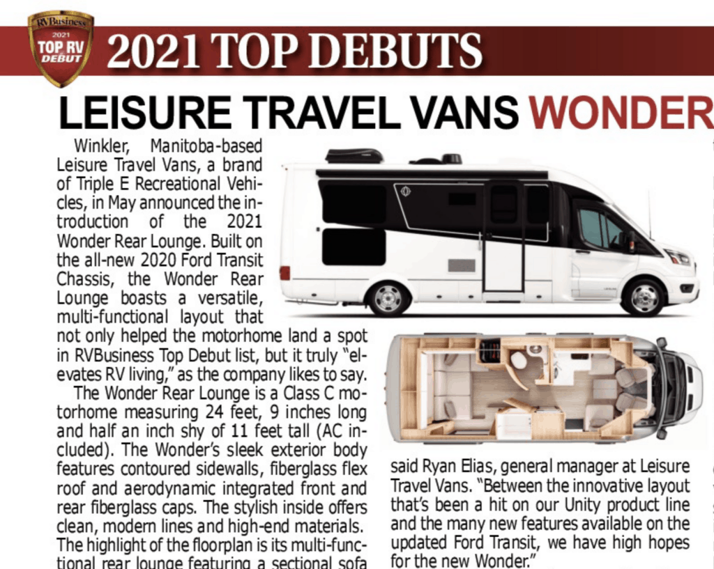 2021 Top Debuts are included in the Top 10 RVs of the Year