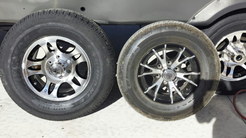 Tire size comparison on a travel trailer.