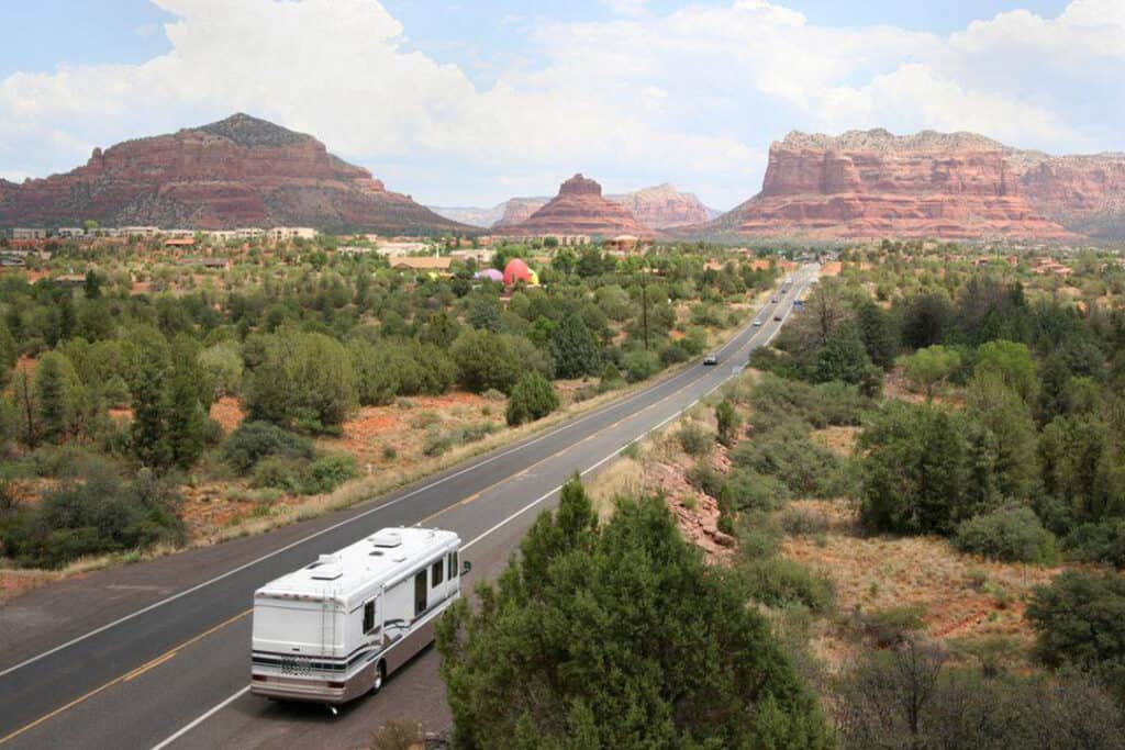 Class A motorhome parked in scenic turnout.