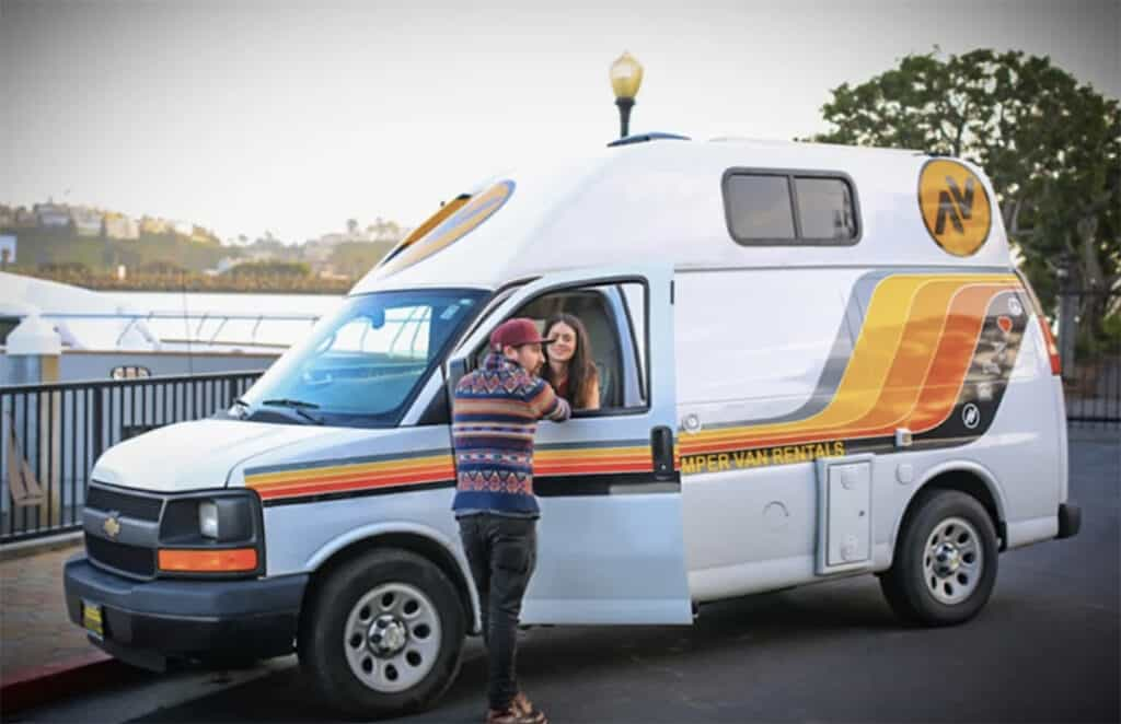 Two people looking at a camper van rental.