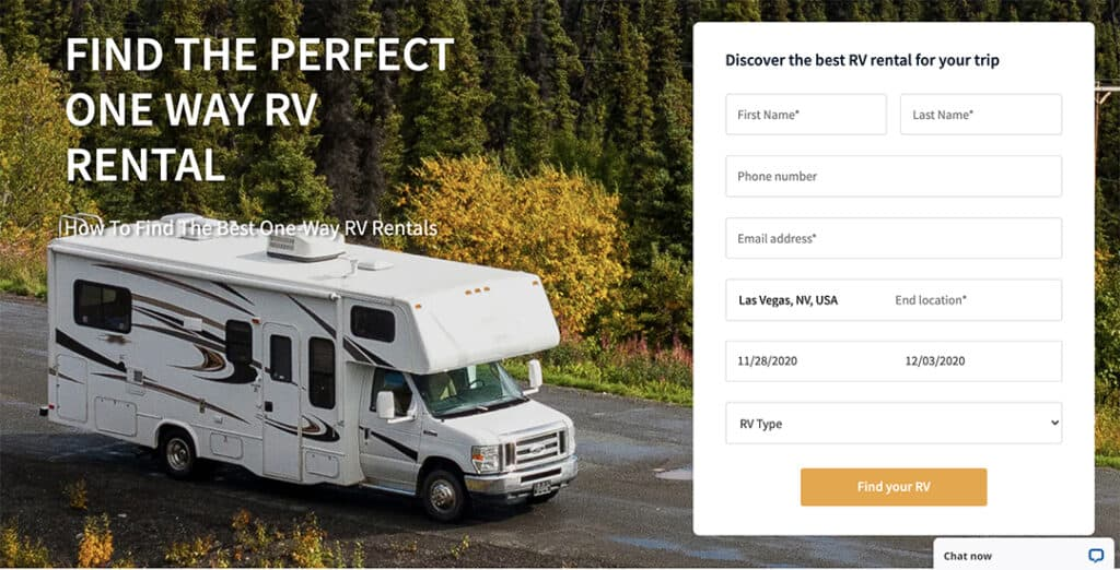 RVshare graphic of rental search option.
