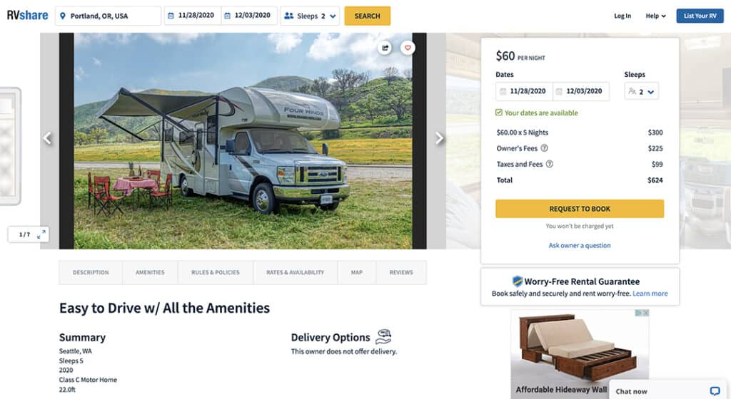 RVshare graphic showing RV rental  booking options.