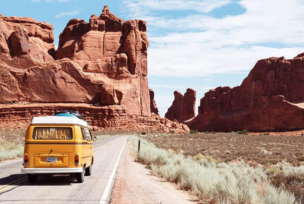 VW camper van on Utah highway.