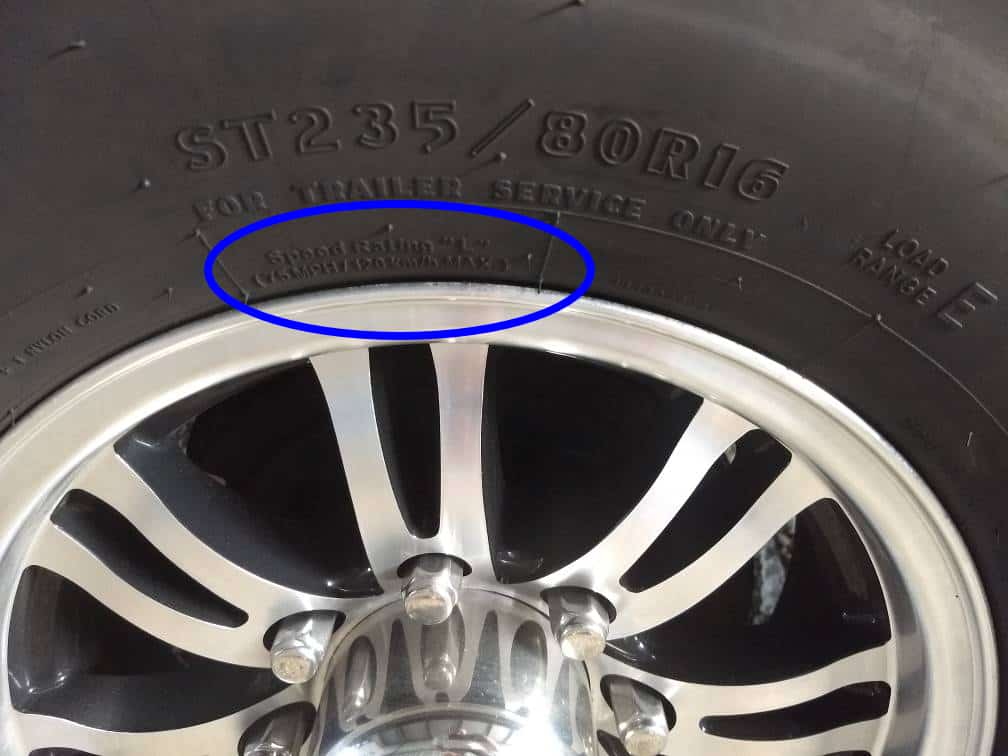 Close-up of numbers on tire show speed rating.