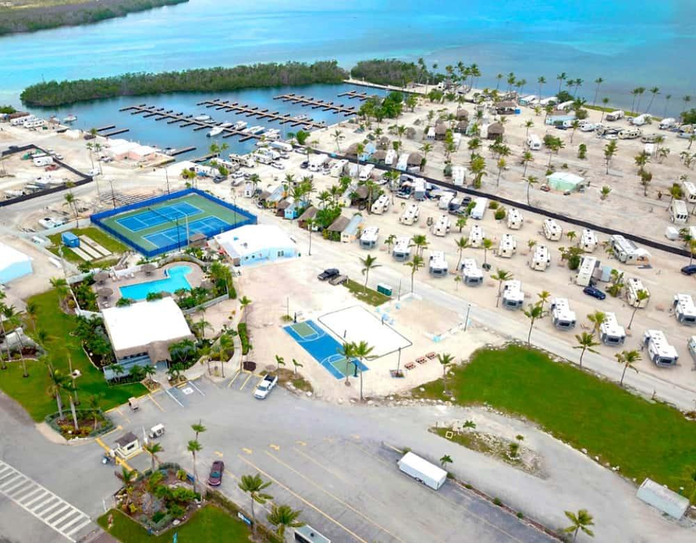 Aerial view of Sunshine Key RV Resort .