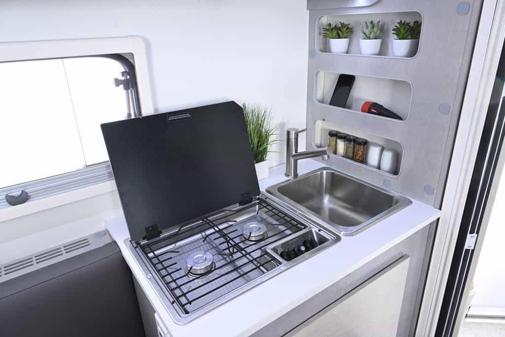 nuCamp RV interior kitchen