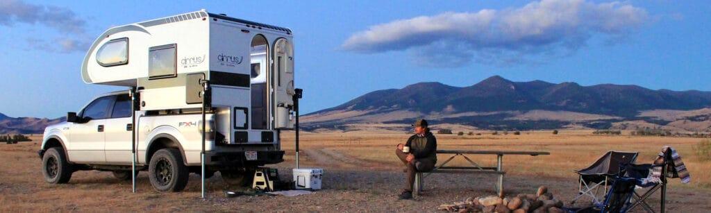 nuCamp Cirrus 620 truck camper in open prairie