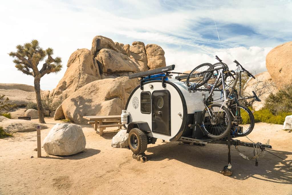 The Mean Bean teardrop camper in the desert.